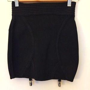 Silence + Noise • black stretch mini garter skirt